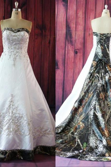Wedding Dress, Wedding Dresses, camo wedding dress, white wedding dress, satin wedding dresses,Embroidery Wedding Dresses,Bridal Gown