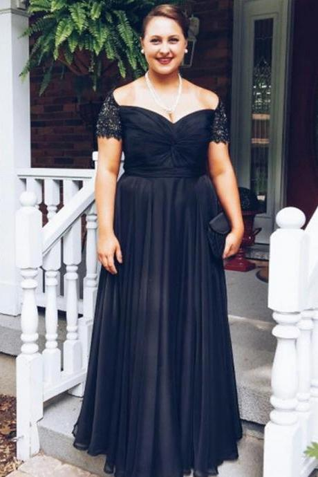 Cap Sleeve Evening Dresses,Charming Prom Dress,Black Prom Dress,A Line Prom Dress,Chiffon Prom Dress