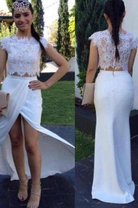 2 Piece Prom Dresses,Sexy Prom Dress,White Prom Dress,Mermaid Prom Dress,Lace Prom Dress,Boat Neck Evening Dress