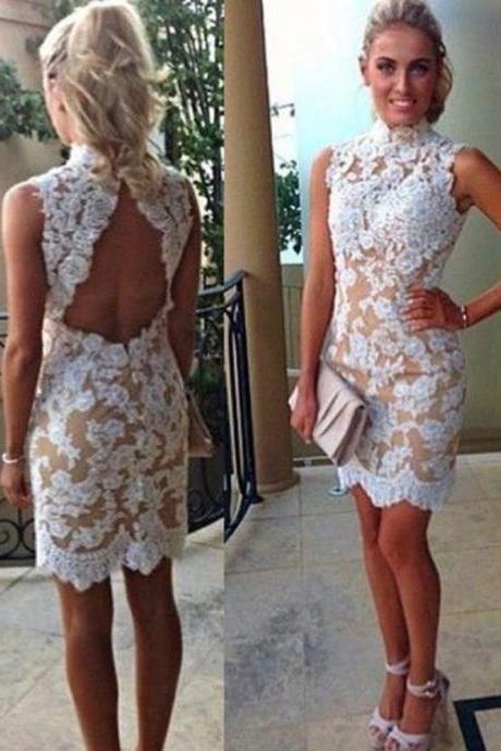High Neck Backless Prom Dress, Short Prom Dresses,2016 Prom Dresses,Vintage Prom Dresses, Party Dresses, Homecoming Dresses