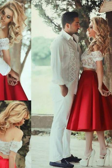 2 Piece Prom Dress, Red Short Prom Dresses,2016 Prom Dresses,Vintage Prom Dresses, Party Dresses, Homecoming Dresses