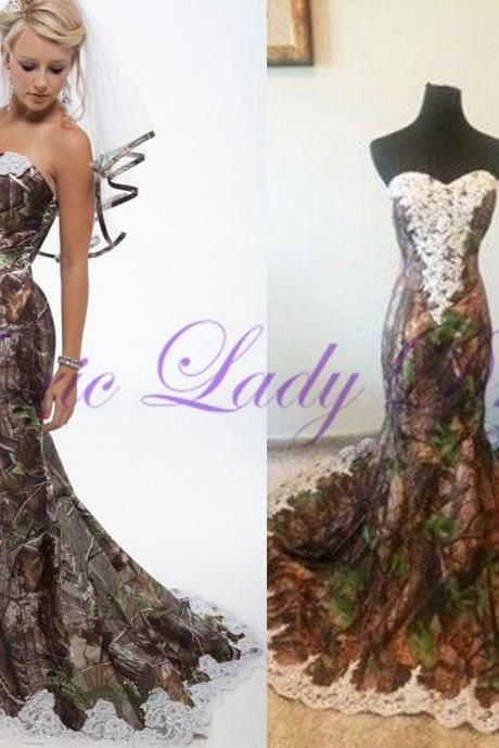 2016 New Fashion Camo Wedding Dresses Bridal Gown Lace Back Sexy Mermaid Custom-made Bride Dresses