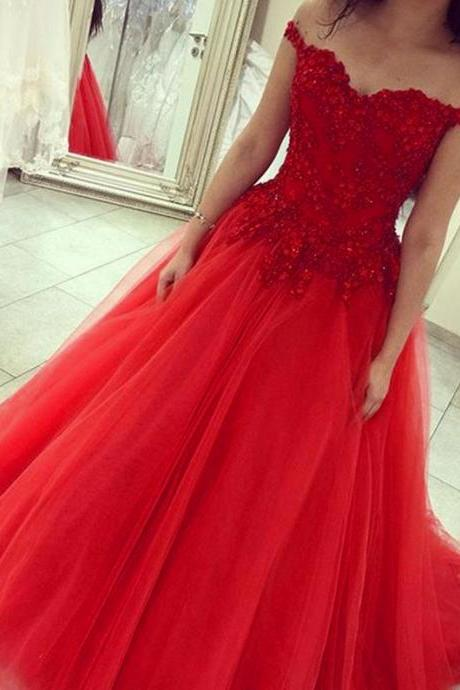 Plus Size Red Prom Dress,Long Elegant Tulle Lace Appliques Bridesmaid Dresses, Sexy V Neck Tulle Women Evening Dresses ,Long Elegant Prom Dresses Party Evening Gown