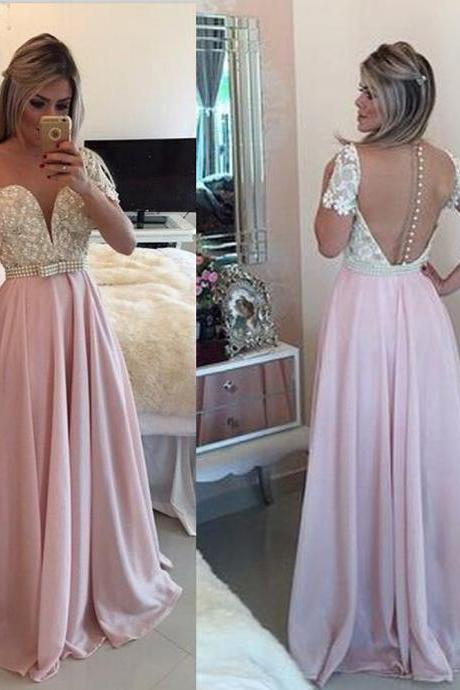 Sexy A Line Pink Prom Dresses,Long Elegant Chiffon Bridesmaid Dresses, Sexy Backless Beaded Women Evening Dresses ,Long Elegant Prom Dresses Party Evening Gown