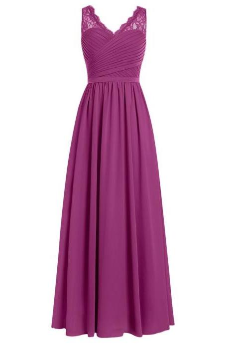 Evening Dress,Long Elegant Evening Dress,Purple Evening Dresses,Chiffon Evening Dresses,Purple Prom Dresses, Formal Gowns, Party Dress