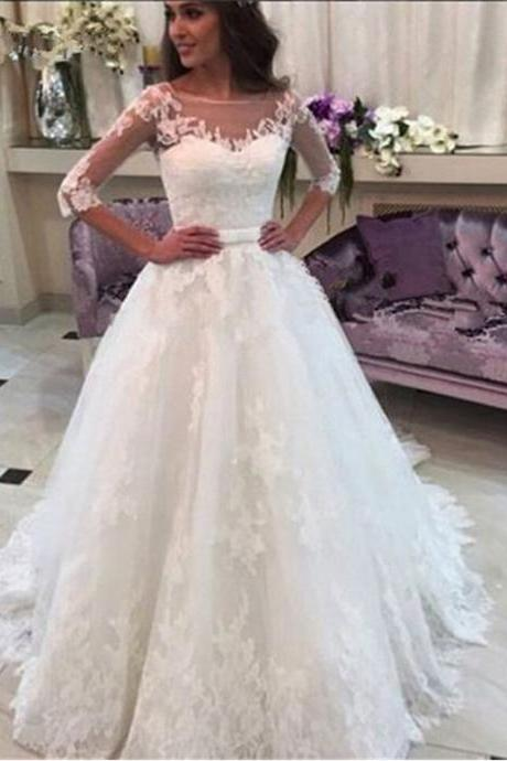Wedding Dress,2016 Wedding Dresses,Half Sleeve Wedding Dress,Boat Neck Wedding Dresses, Vintage Wedding Dresses,Wedding Gowns,Bridal Gown,White Wedding Dresses,