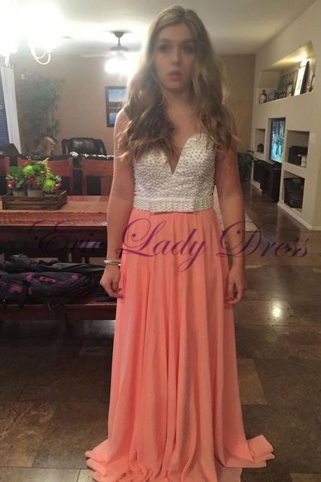 Long Coral Beaded Evening Dresses Zipper Back Sleeveless Prom Dress Long Elegant Formal Gowns Robe De Soiree