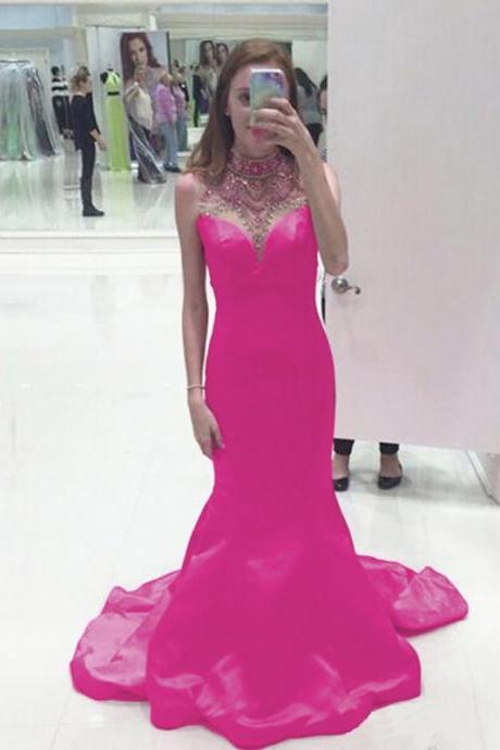 Evening Dresses 2016,Sexy Backless Prom Dress,Mermaid Evening Dress, Fuschia Evening Dresses, Satin Evening Dresses,Evening Gowns,Fast Shipping Prom Dresses, Red Carpet Dresses 2016,Long Prom Dresses, Formal Gowns,Party Dresses