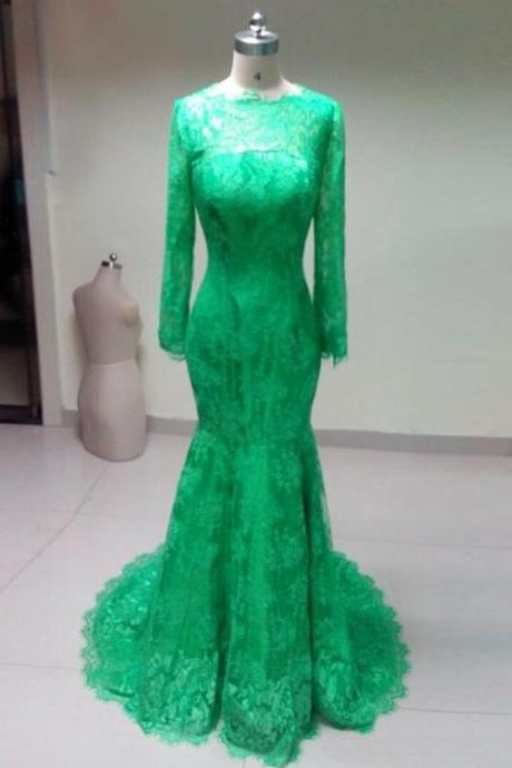 Evening Dresses 2016,Long Sleeve Prom Dresses,Green Prom Dresses,Sexy Scoop Prom Dress,Mermaid Evening Dress, Lace Evening Dresses, Chiffon Evening Dresses,Evening Gowns,Fast Shipping Prom Dresses, Red Carpet Dresses 2016,Long Prom Dresses, Formal Gowns,Party Dresses