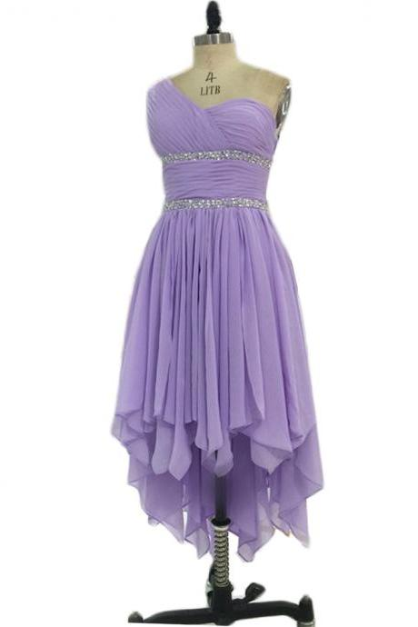 2016 New Arrival High Low One Shoulder Prom Dresses Sexy Chiffon Lavender Evening Dresses Elegant Prom Gowns Party Dress