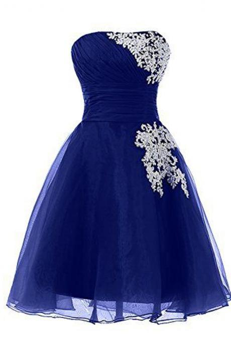 Royal Blue Knee Length Prom Dresses Sexy Sweetheart Organza Evening Dresses Elegant Prom Gowns Party Dress