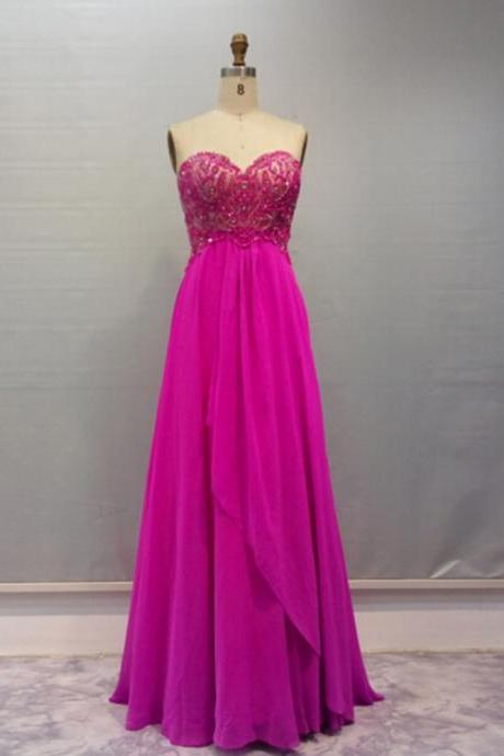 Prom Dress,Chiffon Prom Dress,Long Prom dresses,Fuschia Prom Dresses,Custom Made Prom Dress, Vintage Prom Dress, Long Prom Dresses,2016 Prom Dresses,Fuschia Evening Dresses