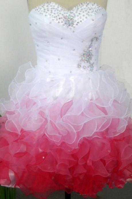 Homecoming Dresses,Graduation Dresses,2016 Homecoming Dress,Organza Homecoming Dress,Sweetheart Homecoming Dress,Beaded Homecoming Dresses,Short Prom Dresses