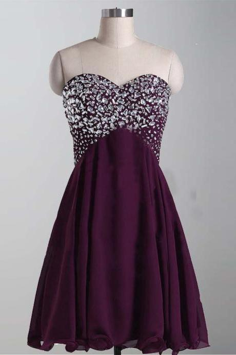 Custom Made Purple Crystal Embellished Sleeveless Sweetheart Neckline A-Line Chiffon Homecoming Dress, Graduation Dress