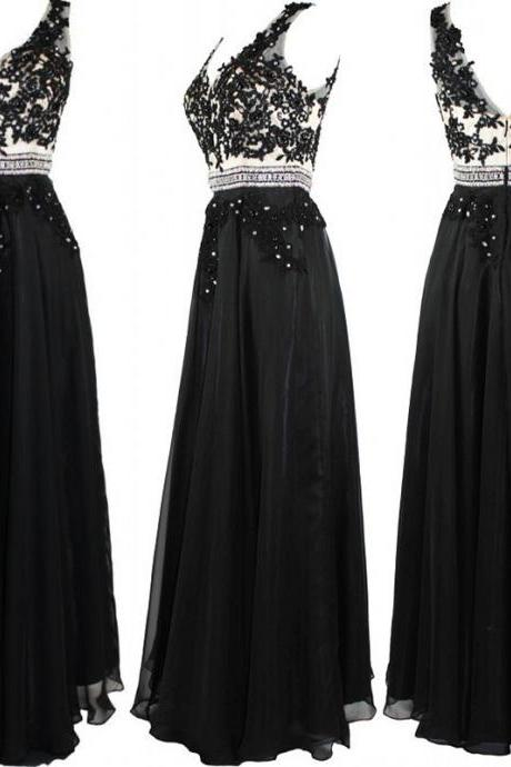Long Elegant Black Prom Dresses Sexy Beaded Chiffon Party Evening Gowns 2016 Fast Shipping Cheap Party Dress For Women
