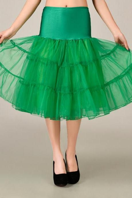 2016 Green Petticoat Summer Dress Mini A Line Skirts Crinoline Underskirt Tutu Skirts Petticoats For Wedding Dress