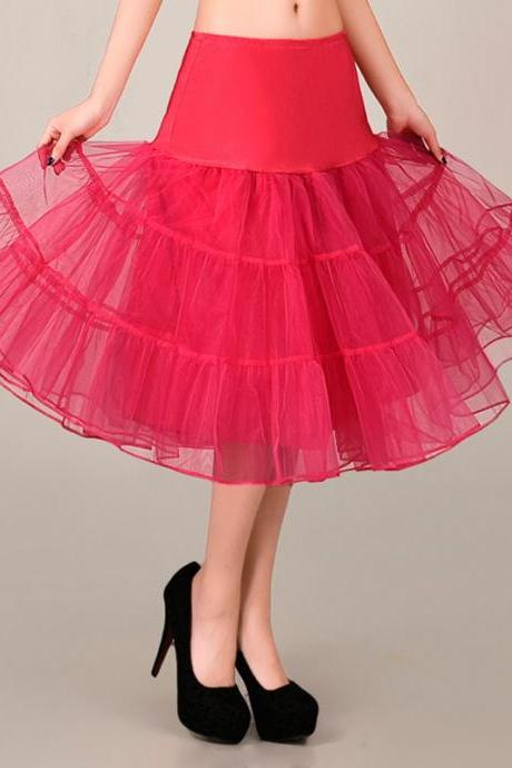 2016 Rose Red Petticoat Summer Dress Mini A Line Skirts Crinoline Underskirt Tutu Skirts Petticoats For Wedding Dress