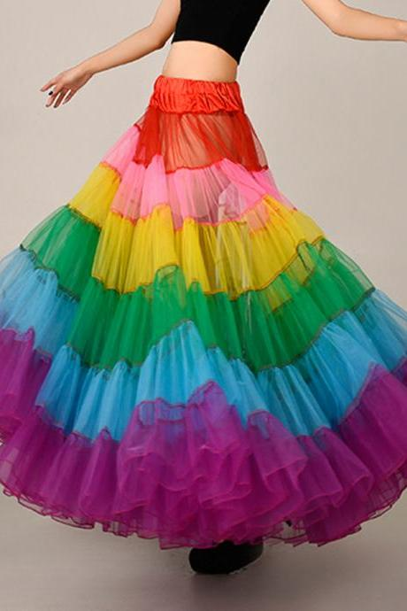 Fashion Colorful Skirt,Beautiful Long Skirt, tutu skirts,petticoat