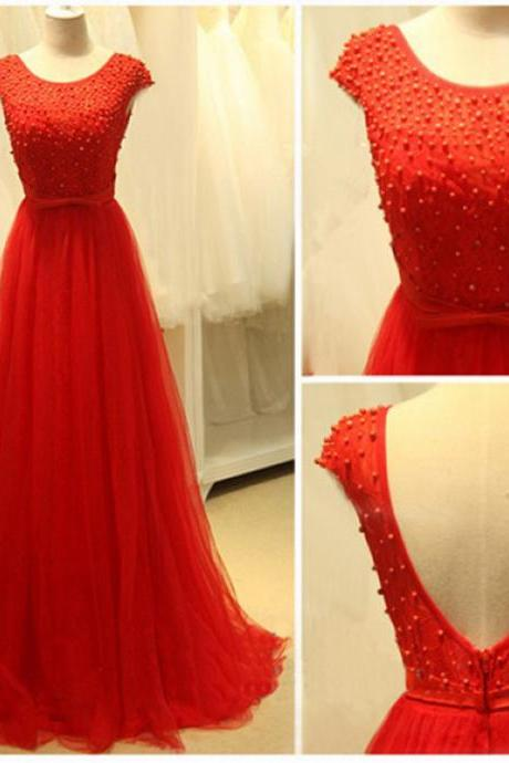 2016 Red Evening Dresses Floor Length Backless Beaded Scoop Prom Dress Robe De Soiree Formal Gowns