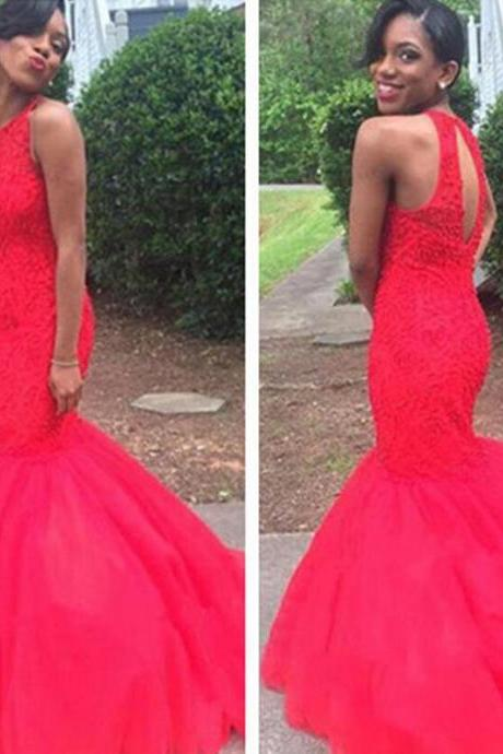 Prom Dress,Red Prom Dress,Mermaid Prom Dresses,Long Elegant Prom Dress,Beaded Tulle Prom Dresses,2016 Prom Dresses,Prom Dresses,Sexy Evening Dresses