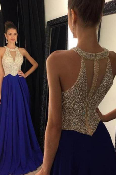 Prom Dress,Royal Blue Prom Dress,Beaded Prom Dress,Long Chiffon Prom Dresses,Custom Made Prom Dresses,Sexy Prom Dress, Elegant Prom Dress, Long Prom Dresses,2016 Prom Dresses