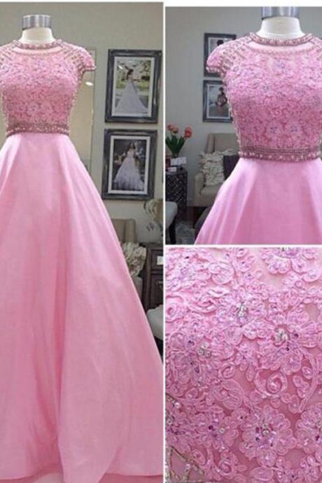 2016 long elegant pink prom dresses, cap sleeve prom dresses,pink evening dresses , sexy formal prom dresses,dresses party evening,sexy evening gowns,formal dresses evening,2016 new arrival formal dresses,elegant long evening dresses