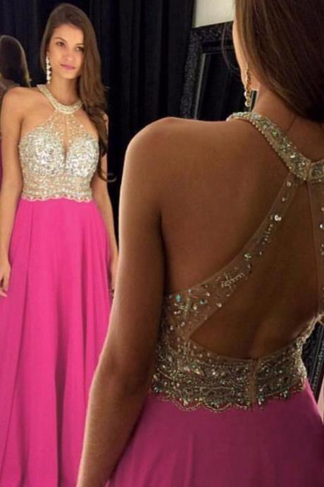 2016 Sexy Peach Evening Dresses Long Chiffon Backless Beaded Prom Dress Robe De Soiree Formal Gowns