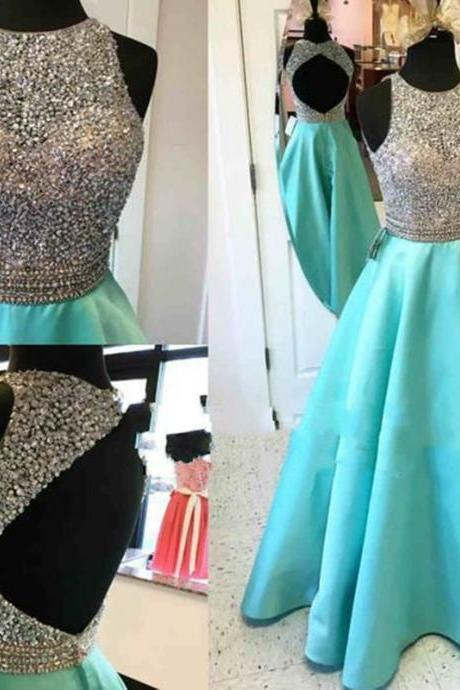 2016 Sexy Turquoise Prom Dresses Scoop Beaded Backless Evening Dress Robe De Soiree Formal Party Gowns
