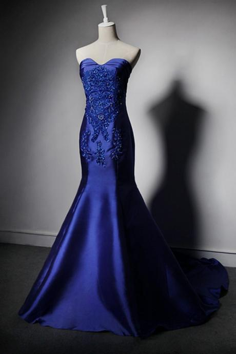 Custom Made Sweetheart Neckline Beading Satin Mermaid Evening Dress, Prom Dress, Cocktail Dresses, Wedding Dresses