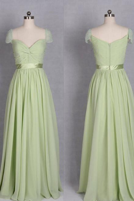 Sexy Sage Green Chiffon Bridesmaid Dress,Floor Length A Line Zipper Cap Sleeve Bridesmaid Dresses,Sexy Long Cheap Prom Dresses Party Evening Gown