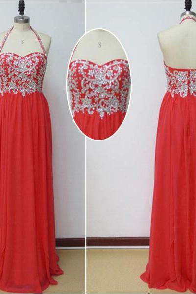 Sexy Red Chiffon Bridesmaid Dress,Floor Length A Line Halter Bridesmaid Dresses,Sexy Long Cheap Prom Dresses Party Evening Gown