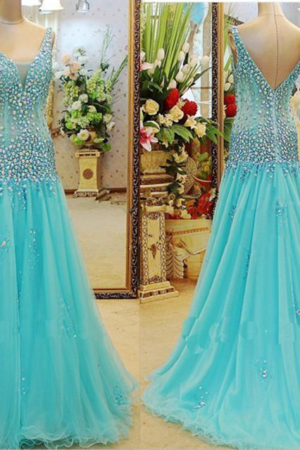 Luxury Crystal Blue Bridesmaid Dress,Floor Length V Neck Bridesmaid Dresses,Long Elegant Sexy Prom Dresses Party Evening Gown