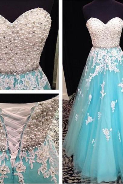 Sweetheart Blue Bridesmaid Dress,Floor Length Tulle Beaded Bridesmaid Dresses,Long Elegant Sexy Prom Dresses Party Evening Gown