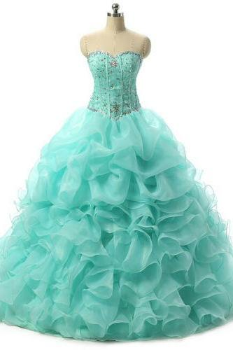 2019 Sexy Quinceanera Dresses Sweetheart Crystal Organza Ball Gown Formal Prom Quinceanera Gowns Sweet 16 Dresses