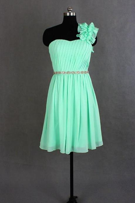 Bridesmaid Dress,Bridesmaid Dresses,Mint Green Bridesmaid Dress,One Shoulder Bridesmaid Dress,Short Bridesmaid Dresses,Chiffon Bridesmaid Dresses,Sexy Bridesmaid Dresses