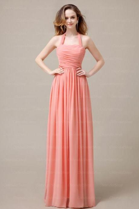 Elegant Long Halter Coral Bridesmaid Dresses, Bridesmaid Dresses, Wedding Party dresses