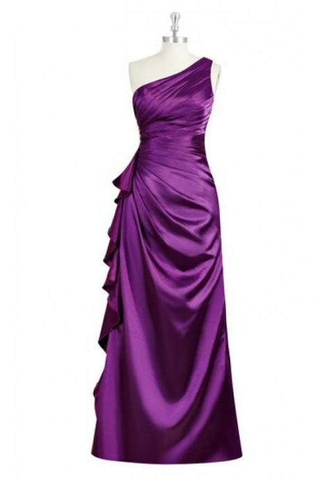 Elegant One Shoulder Purple Bridesmaid Dresses, Beautiful Floor Length Bridesmaid Dresses, Wedding Party dresses,Formal Gowns,Prom Dresses,Evening Gowns