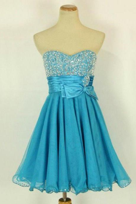 Cute Short Turquoise Beaded Short Length Chiffon Prom Dresses 2016, Homecoming Dresses 2016, Graduation Dresses 2016