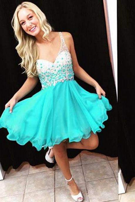Cute Turquoise Chiffon Short Prom Dresses 2016, Homecoming Dresses 2016, Graduation Dresses 2016