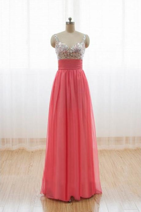 Elegant Handmade Long Straps Simple Prom Dresses, Long Prom Gowns, Bridesmaid Dresses, Wedding Party Dresses