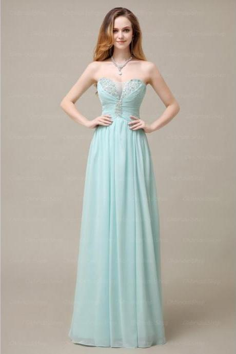 Elegant Handmade Long Strapless Simple Tiffany Prom Dresses, Long Prom Gowns, Bridesmaid Dresses, Wedding Party Dresses