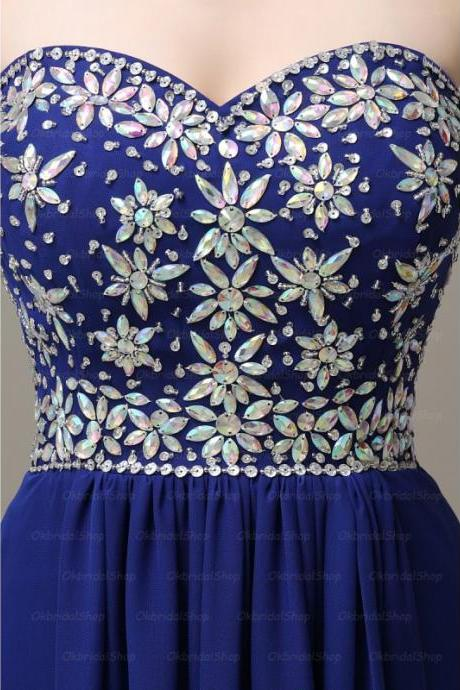 Elegant Handmade Long Sweetheart Royal Blue Prom Dresses, Long Prom Gowns, Bridesmaid Dresses, Wedding Party Dresses