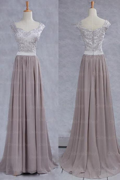 Elegant Handmade Long V Neck Grey Prom Dresses, Long Prom Gowns, Bridesmaid Dresses, Wedding Party Dresses