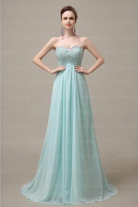 Lovely Light Blue Handmade Chiffon Sweetheart Prom Gown, Prom Gowns 2016, Formal Dresses 2016