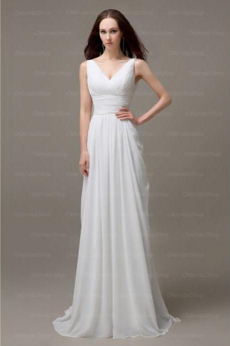 Lovely White Chiffon V Neck Prom Gown, Prom Gowns 2016, Formal Dresses 2016