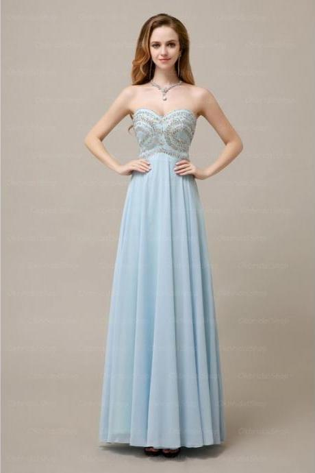 Lovely Light Blue Chiffon Sweetheart Crystal Prom Gown, Prom Gowns 2016, Formal Dresses 2016