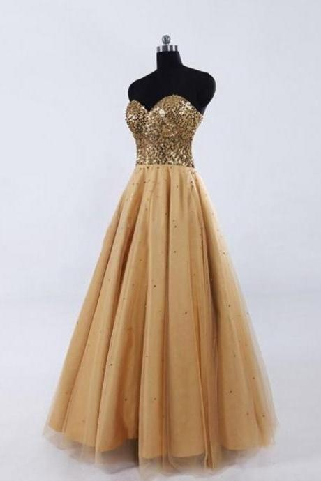 Lovely Gold Tulle Sweetheart Crystal Prom Gown, Prom Gowns 2016, Formal Dresses 2016