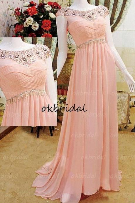 Lovely Pink Chiffon Sheer Neck Prom Gown, Prom Gowns 2016, Formal Dresses 2016