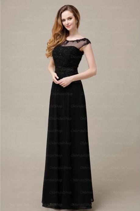 Long Elegant Black Sheer Neck Prom Gown, Prom Gowns 2016, Formal Dresses 2016