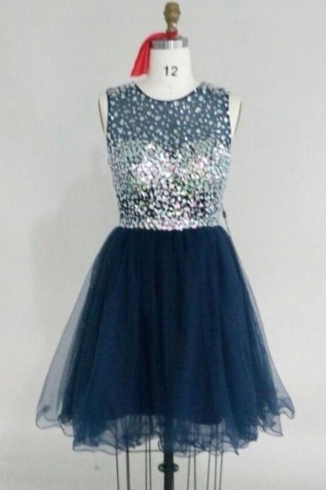prom dresses,Short Prom Dresses,Navy Blue Prom Dresses,Sheer Neck Prom Dress,2016 Cheap prom dresses,Short Evening Dress,Graduation Dresses, Homecoming Dresses, Cocktail Dresses,Formal Gowns